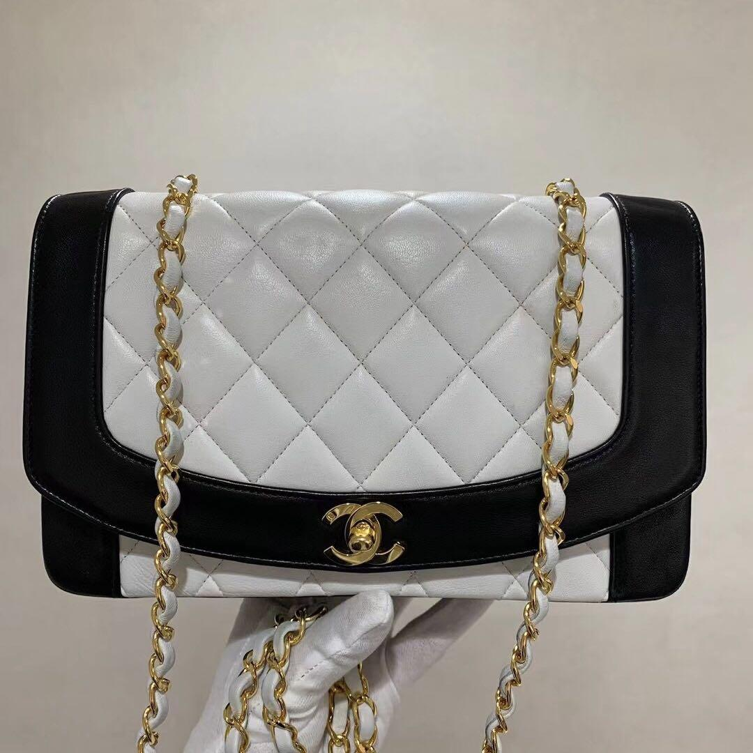 美品 vintage Chanel 黑白拼色戴妃包單肩包 中號
