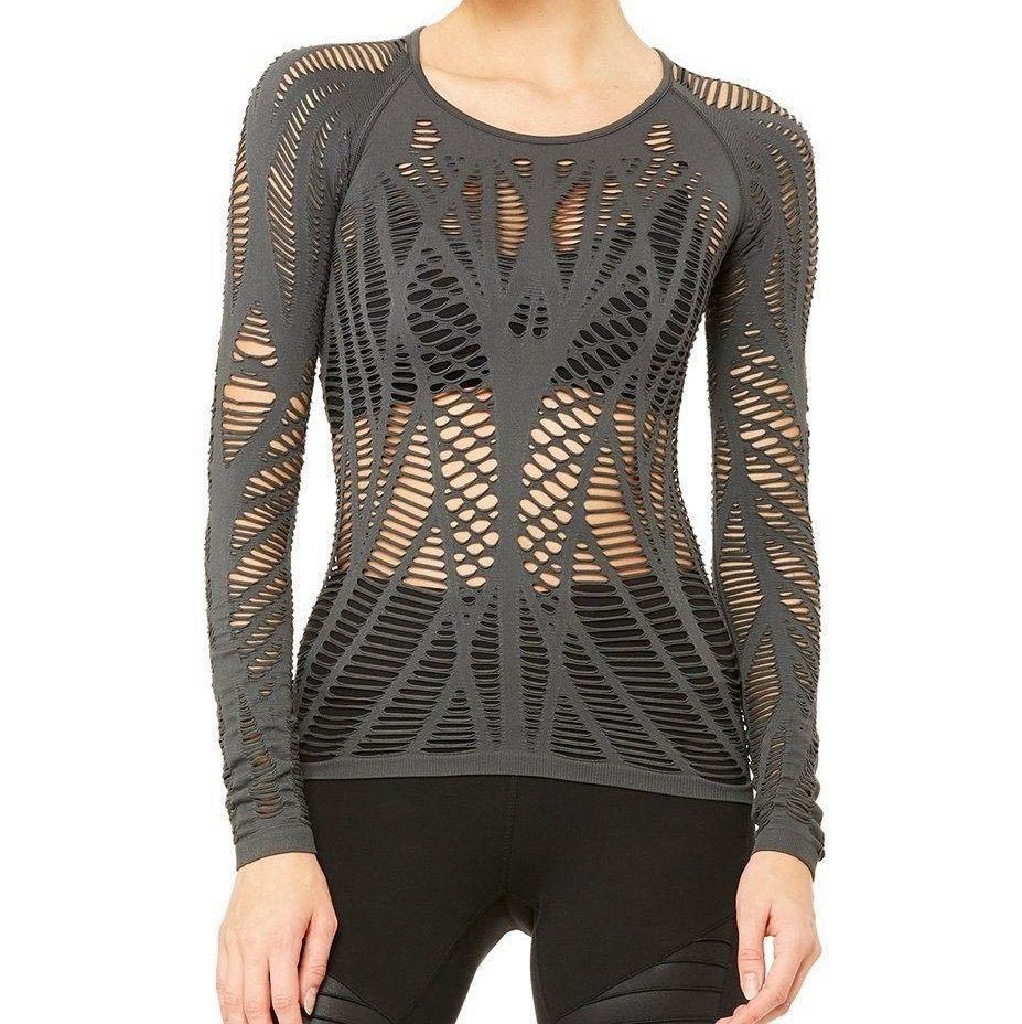 Alo Yoga - Wanderer Long Sleeve Top W3253R Anthracite / 性感簍空瑜伽上衣