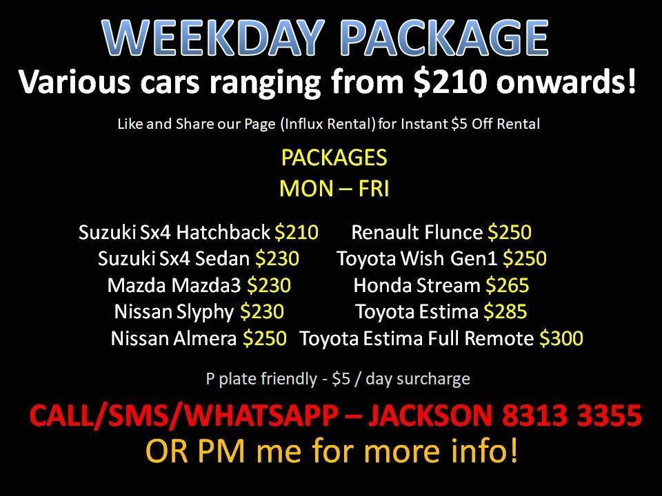 Car Rental Weekday Package *NO DEPOSIT* P Plate Friendly ( Woodlands 11 )