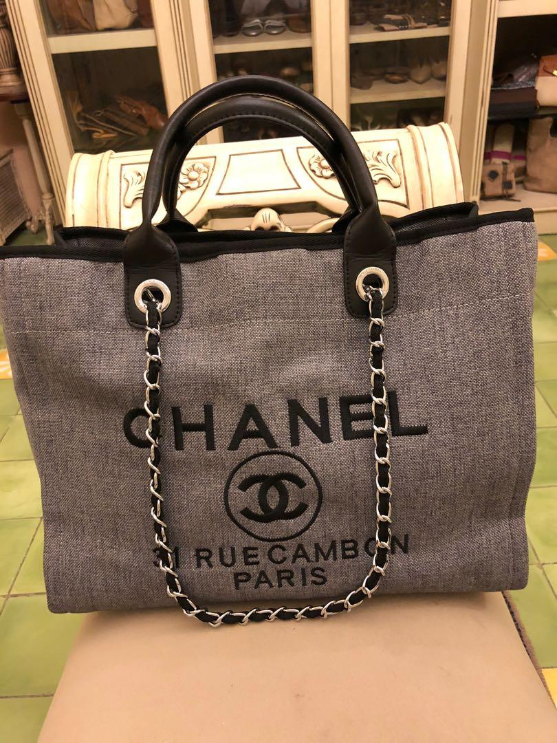 Chanel Deauville Grey Silver Chain Tote Bag
