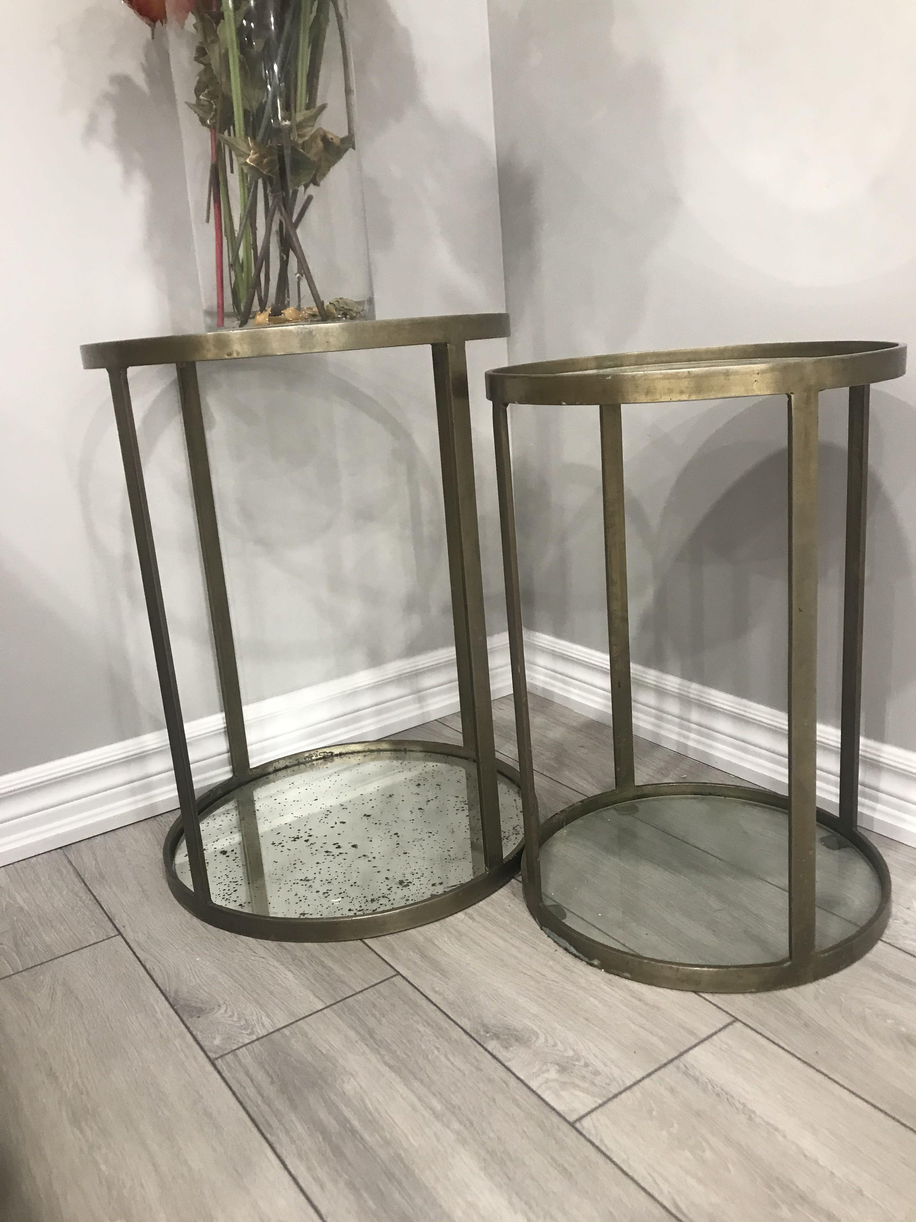 Gold and glass side tables