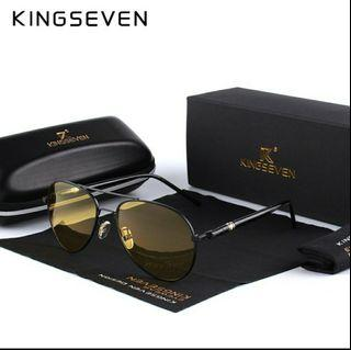 KINGSEVEN K10 Driving Sunglasses Men Polarized Yellow Lens Night Vision Goggles
