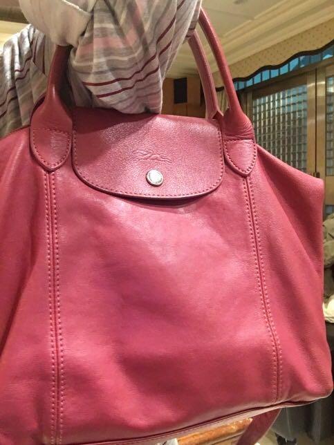 Longchamp 小羊皮折疊長背包
