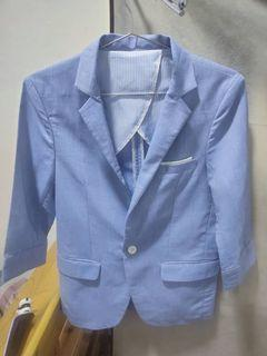 藍色休閒西裝外套M號 七分袖 單扣(韓國製)