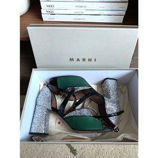 MARNI Glitter Kriss Kross Green Silk Shoes