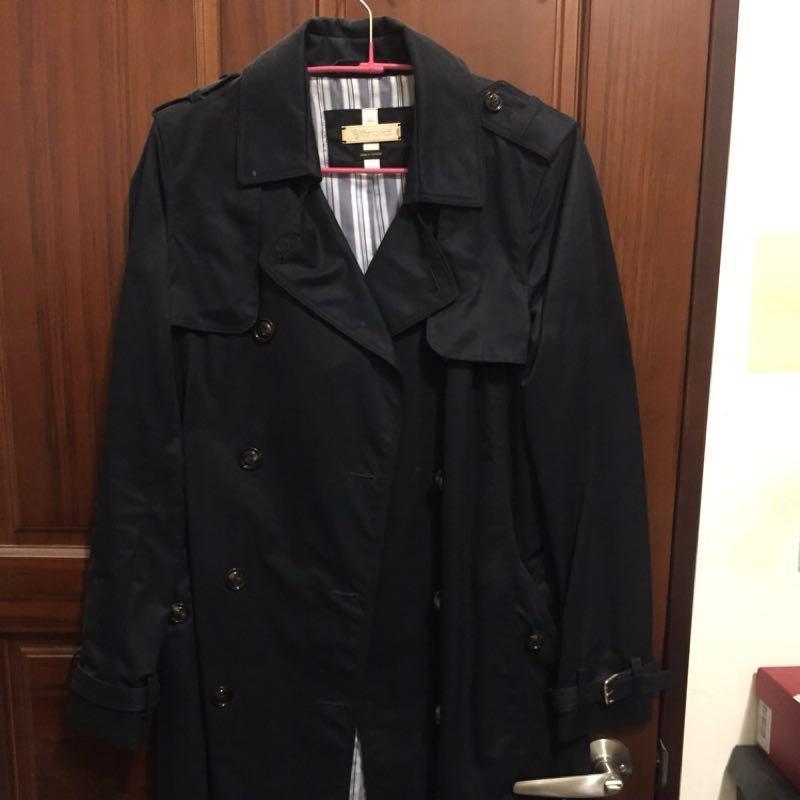 Massimo Dutti 長版風衣外套 深藍 尺寸S