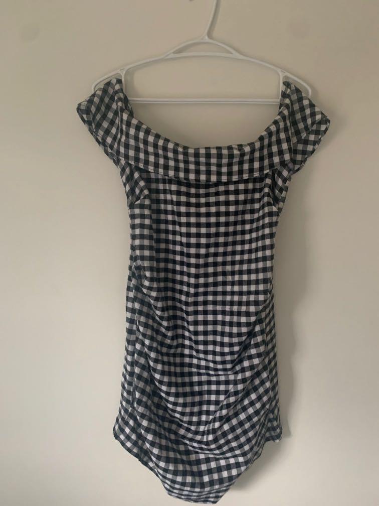 PLT off the shoulder gingham dress