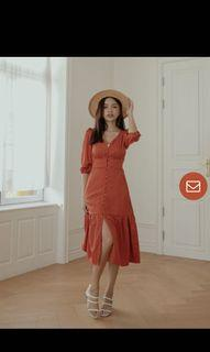 Sienna Button Dress in Rust