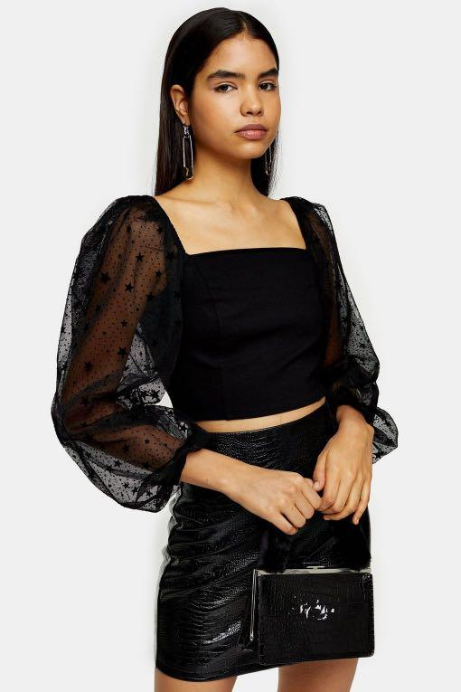 Topshop Puff Sleeve Blouse with Star Print in Black