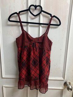 古著 紅黑格紋 紗質 細肩帶 ❤️ 可愛好搭配