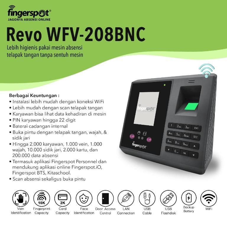 Absensi Tanpa Sentuh Mesin, Hanya Dengan Telapak Tangan, Fingerspot Revo WFV 208 BNC