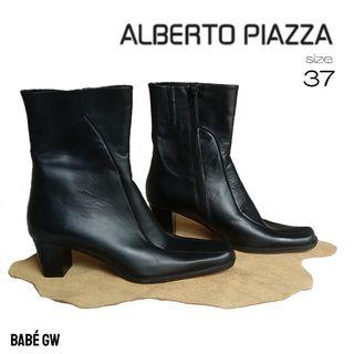 ALBERTO PIAZZA Black Leather Boots Low Heels / Ankle Boots