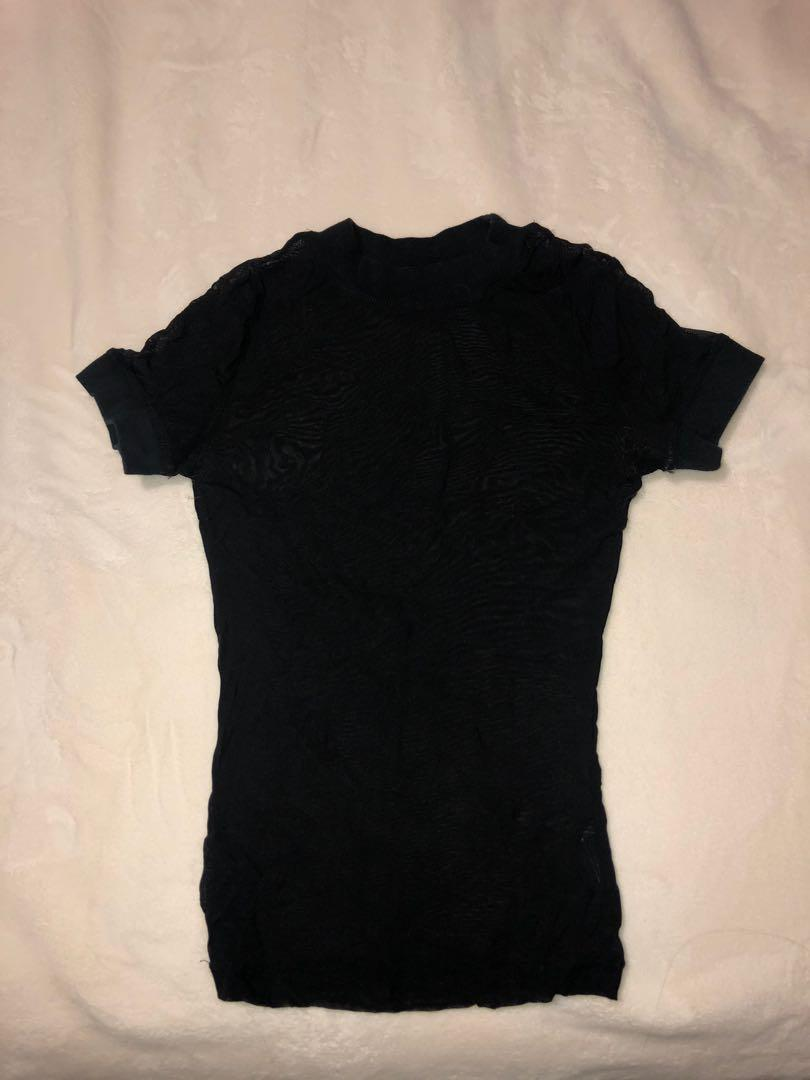 Urban outfitters black mesh fitted top