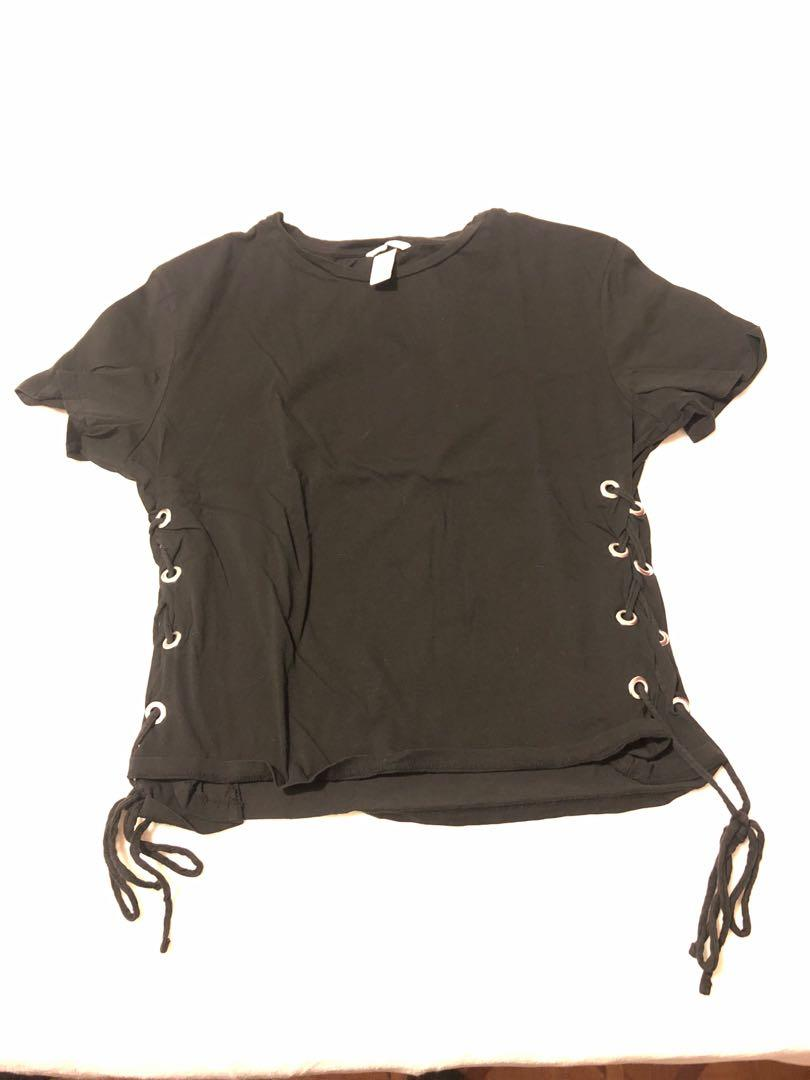 Black side laced shirt
