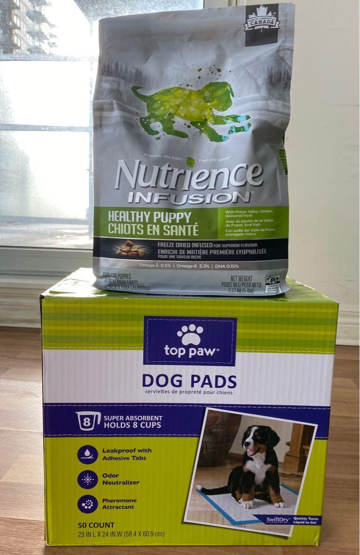 Dog food and pee pad