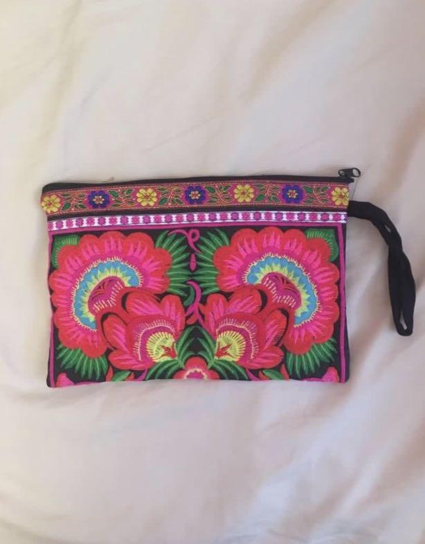 Hand made embroidered clutch