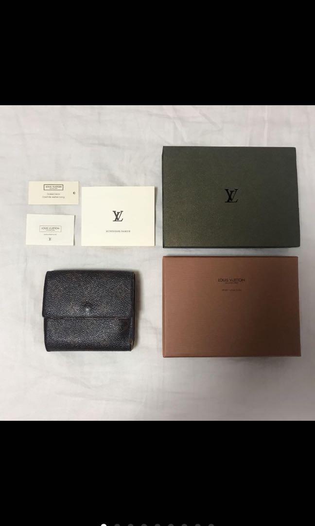 Lv vintage 老花雙面夾層老花短夾配件齊全