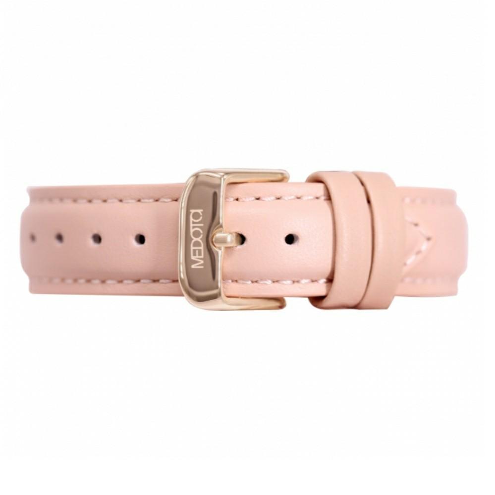 Medota粉色真皮錶帶16mm-玫瑰金扣