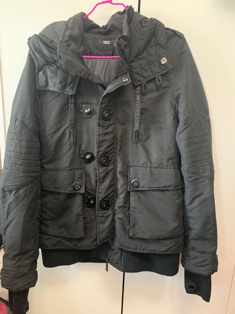 正品SLY黑色軍裝大衣外套NB3款式