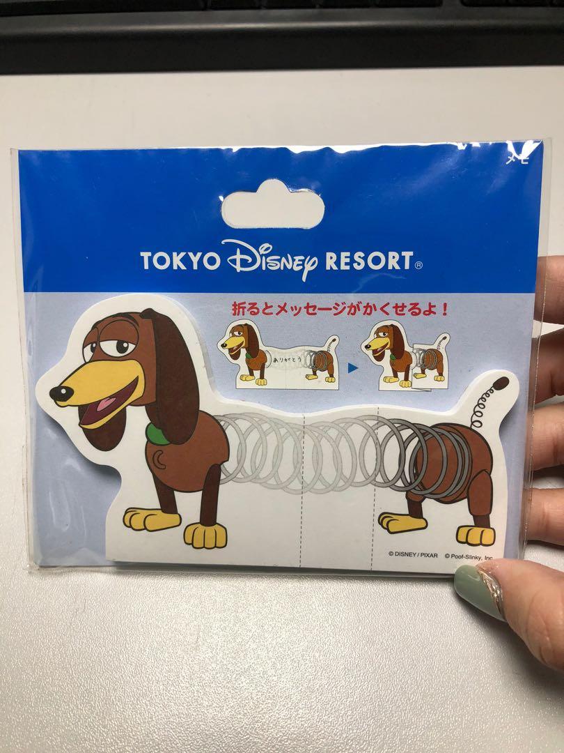 正版東京迪士尼玩具總動員便條紙折疊彈簧狗