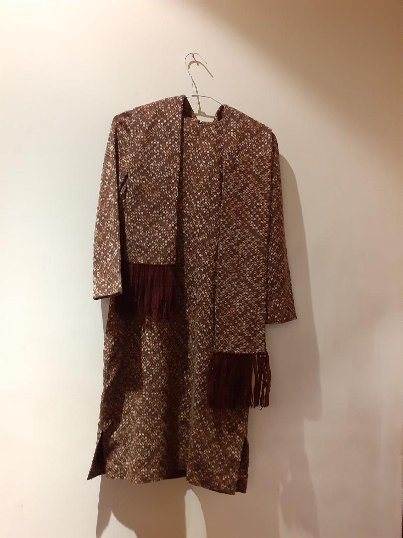 法國進口薄尼洋裝+圍巾