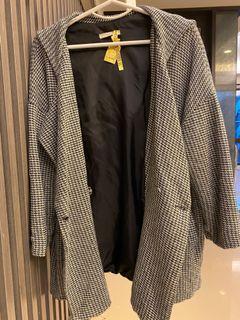 黑白格罩衫外套