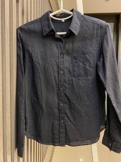 無印良品 黑色亞麻襯衫