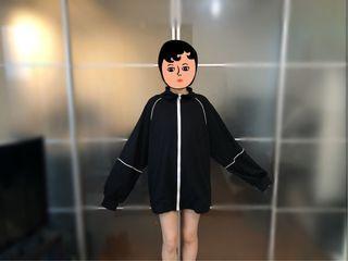立領 泡泡袖 中長版寬鬆教練外套 拉鍊外套 寬袖外套 薄款外套 長版大學T