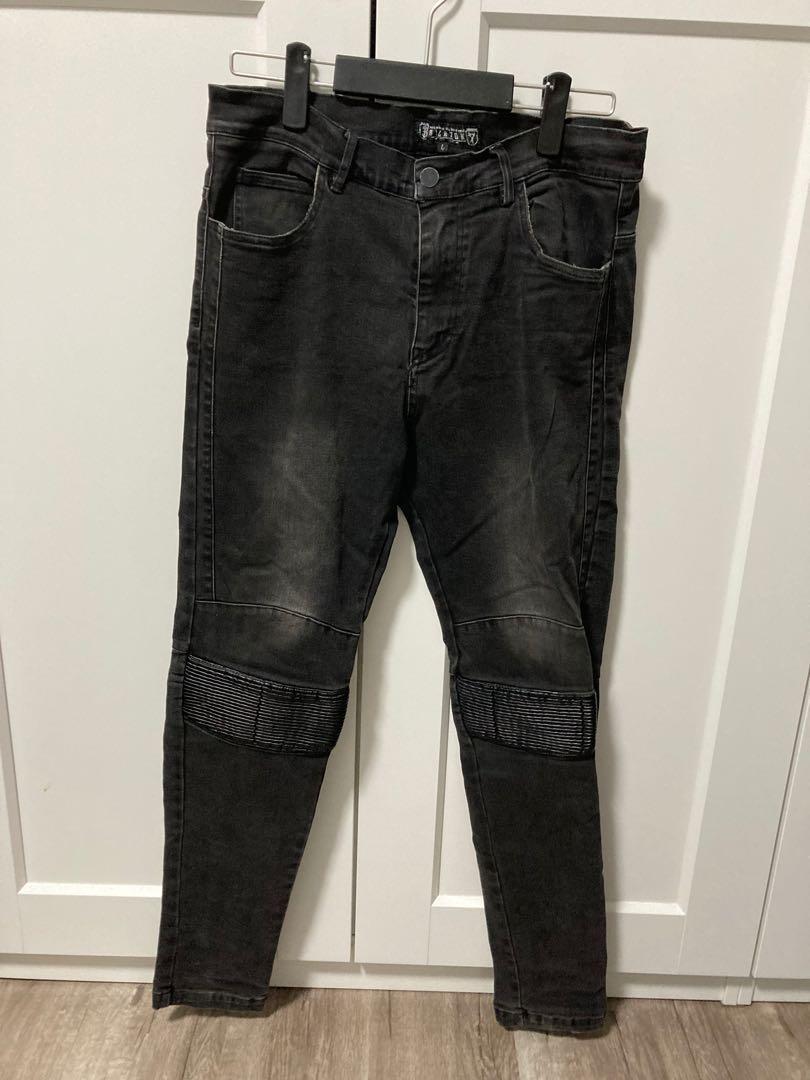 Big nook黑色水洗刷舊牛仔褲L