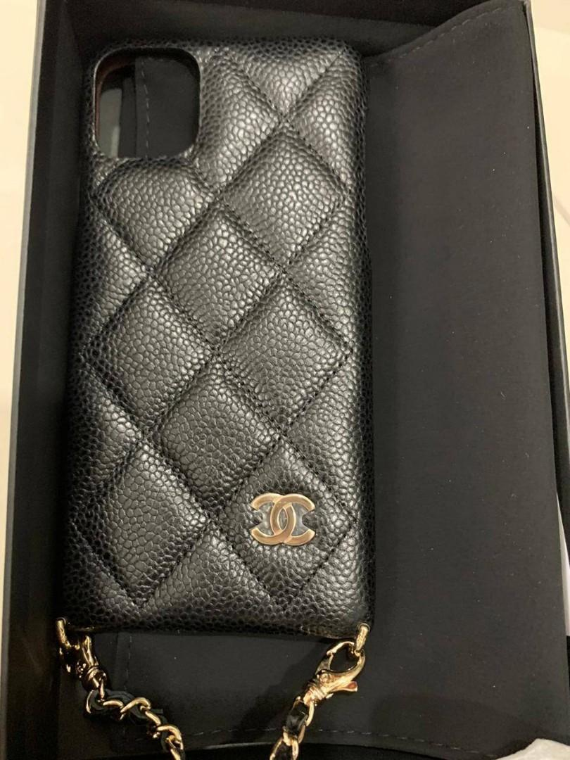 Chanel Iphone Case 11 ProMax Black caviar ghw #30 with long sling (detachable)
