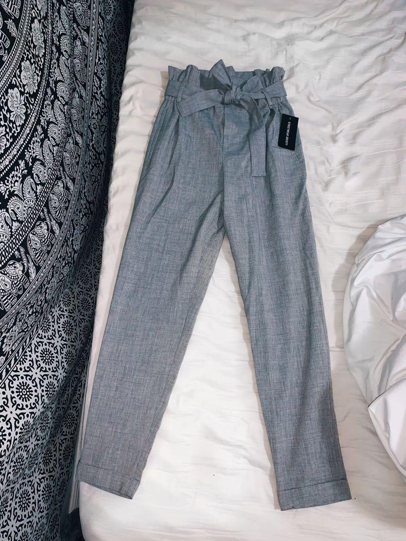 Cute Grey High Waisted  Dress Pants