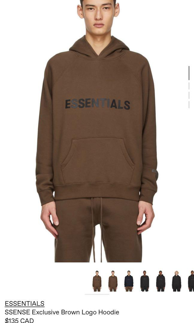 ESSENTIALS BROWN HOODIE SIZE S