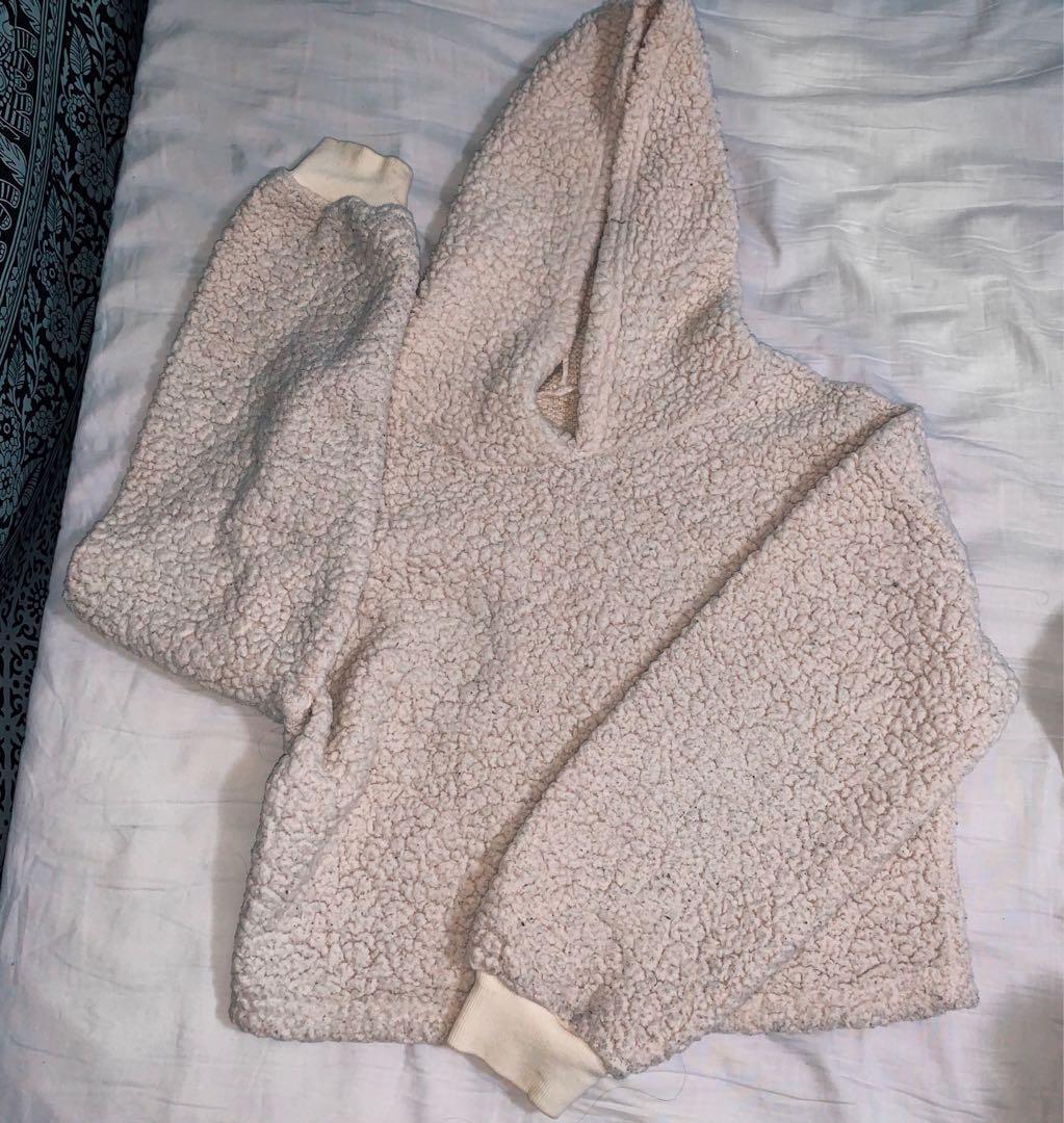 Fuzzy cream colour hoodie