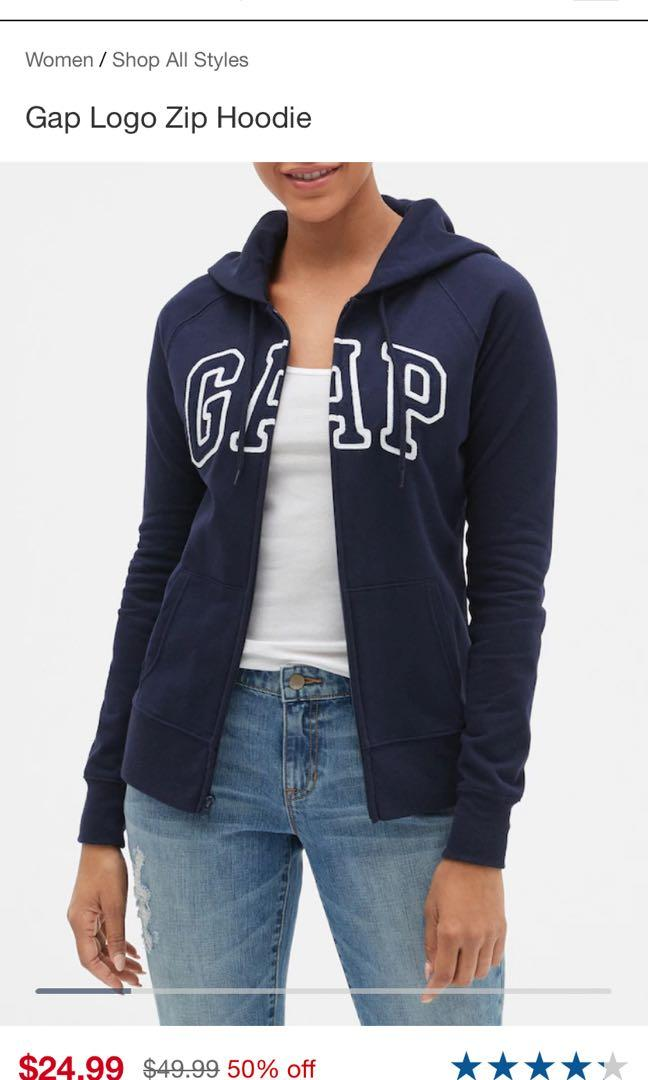 Gap navy zip up sweater size large