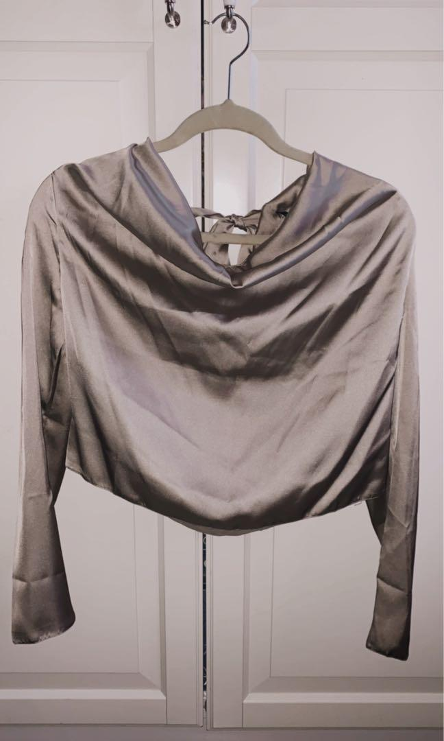 Missguided champagne shirt in size 10