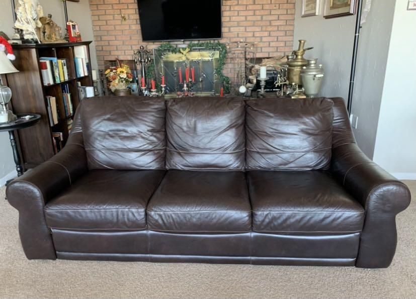 Real leather coffee brown couch