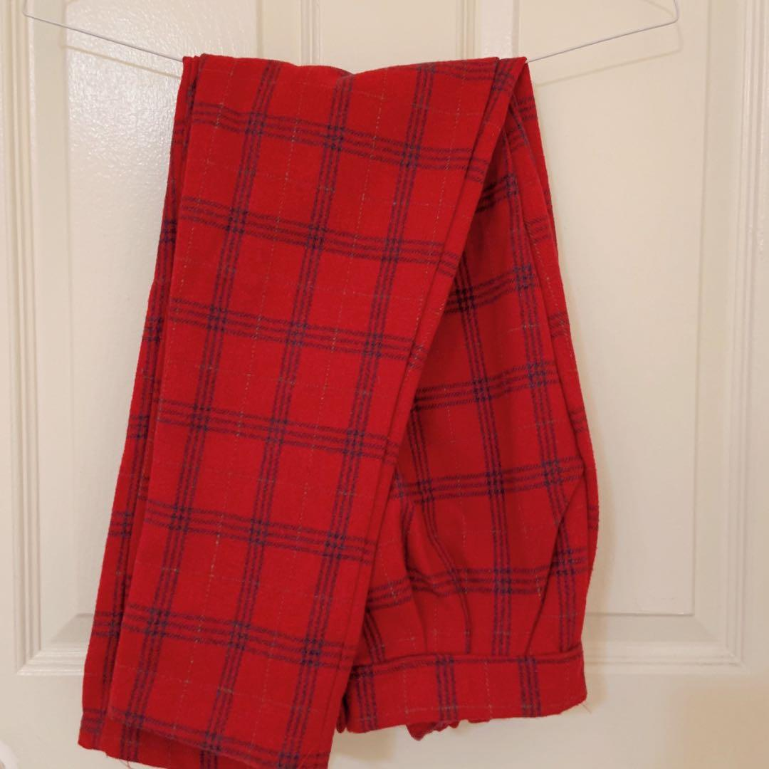 Red grid wool trousers