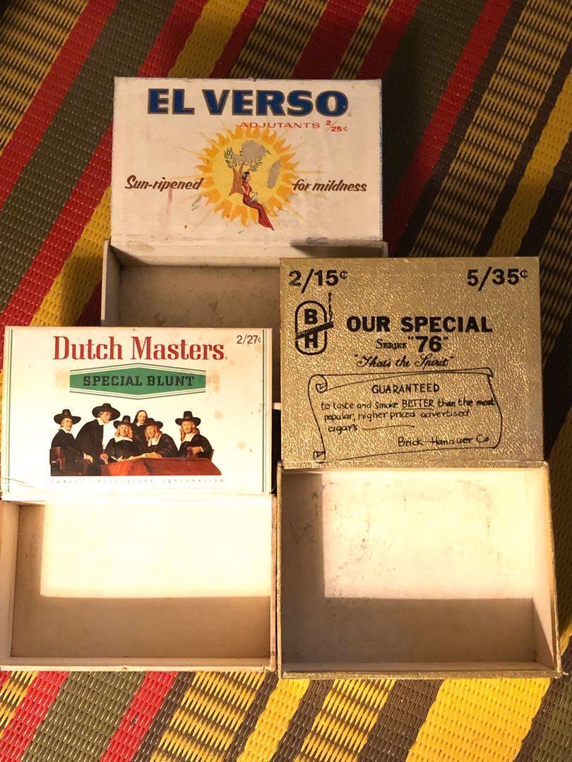 Three vintage empty cigar boxes