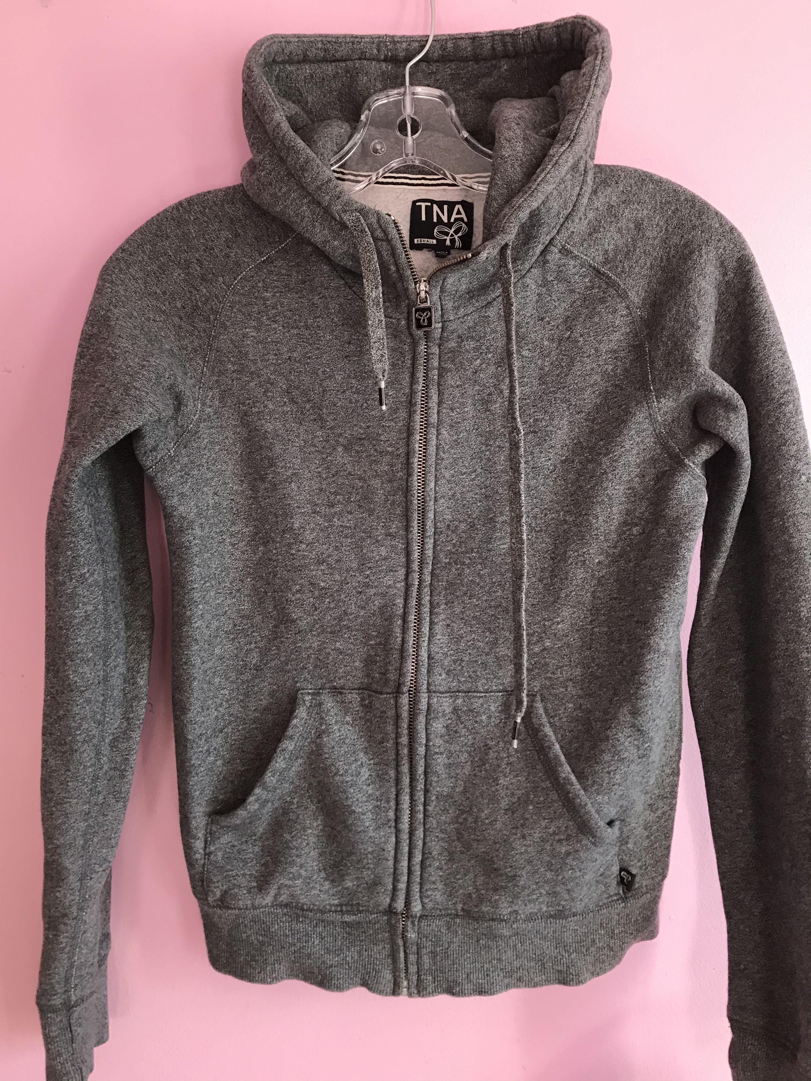 TNA grey zip up hoodie