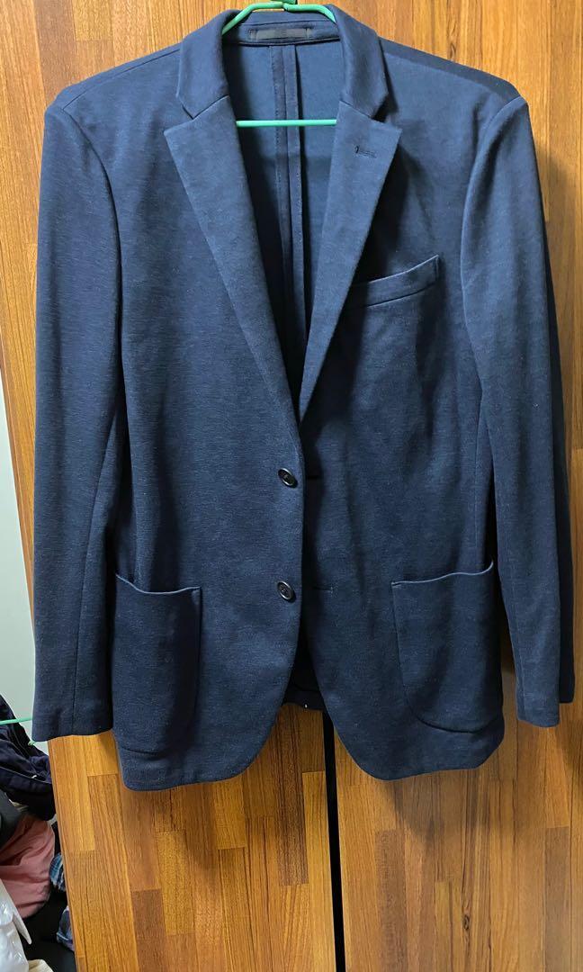 UNIQLO 男裝 舒適 西裝 外套 深藍