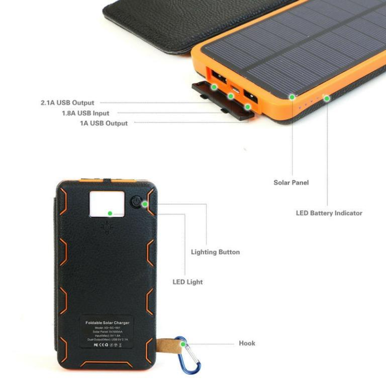 Waterproof 900000mAh Solar Panel External Battery Charger Power Bank For Phones