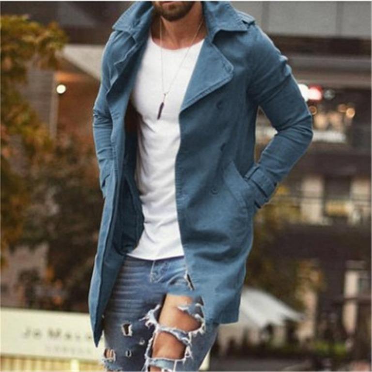 2020wish春季男士外套中長款修身大碼風衣男式休閑夾克316848