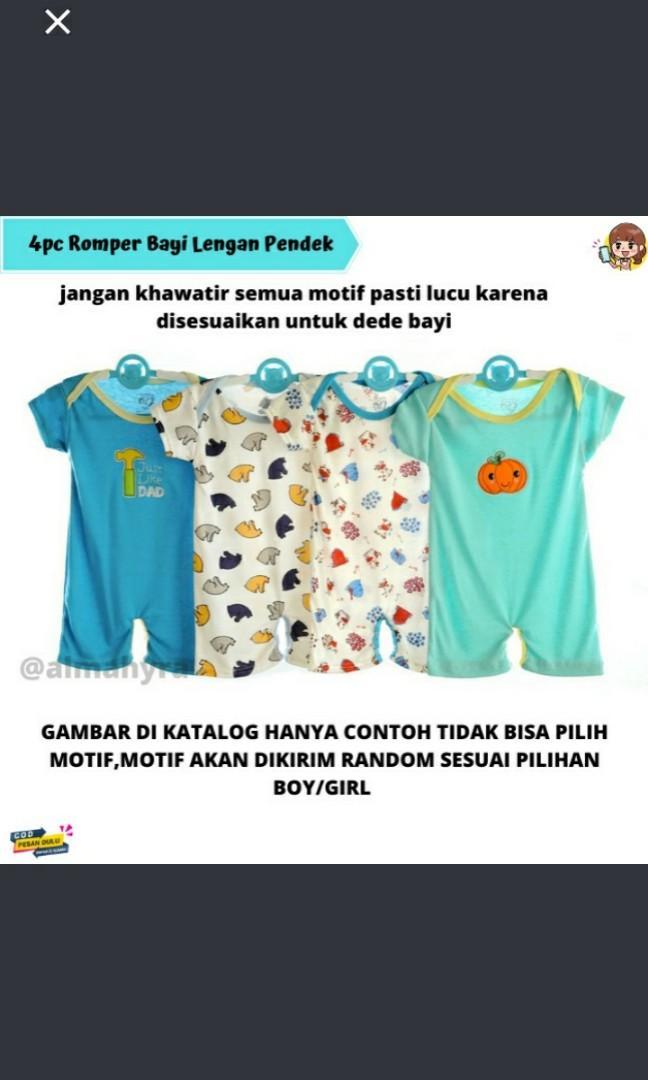 4pcs romper bayi 4pcs ROMPER Pendek Bayi Perempuan atau Laki Laki / Jumpsuit Bodysuit