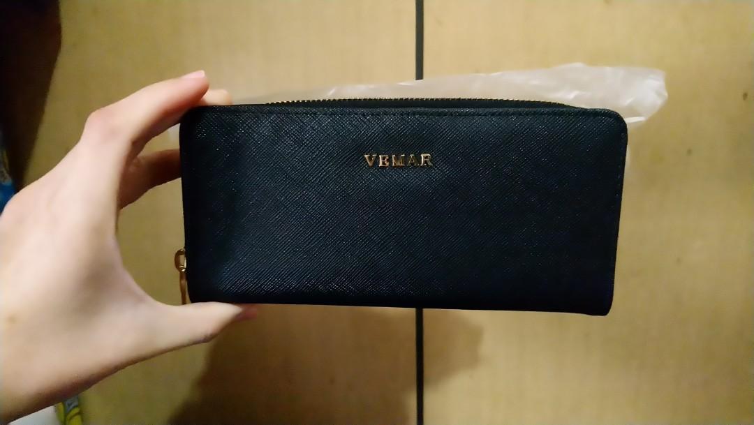 【VEMAR】氣質時尚拉鍊短夾(黑藍)