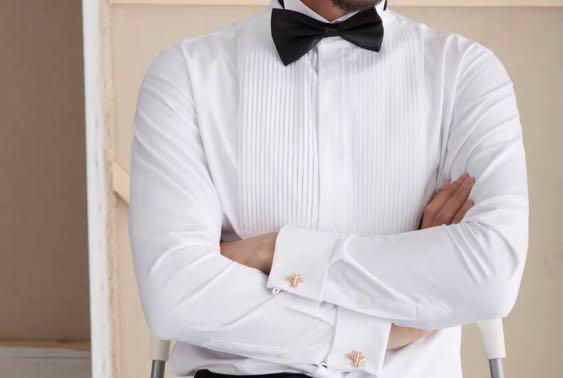 英倫風法式宮廷風百褶領襯衫男修身商務長袖白色婚禮宴會襯衣𓁋【不提供議價】