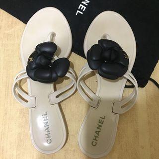 [二手]香奈兒 chanel 山茶花經典橡膠拖鞋 classic Rubber Slippers