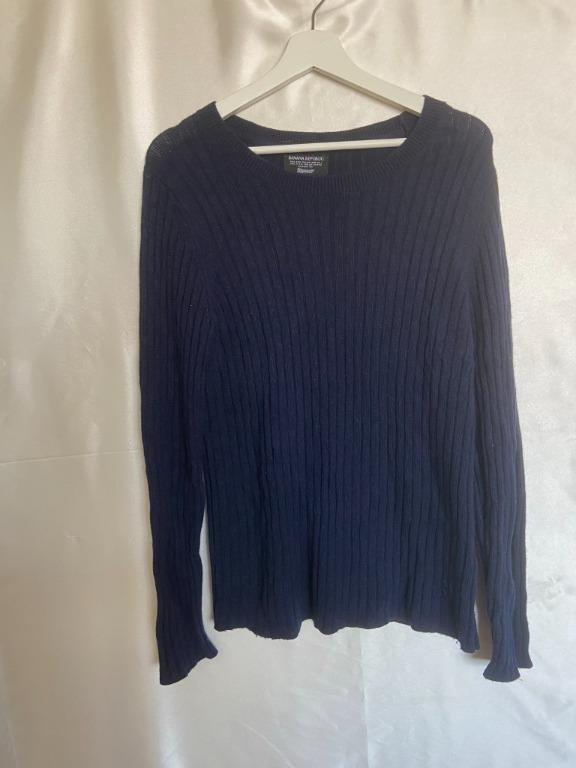 Banana Republic - Blue Knitted/Ribbed Sweater - Large