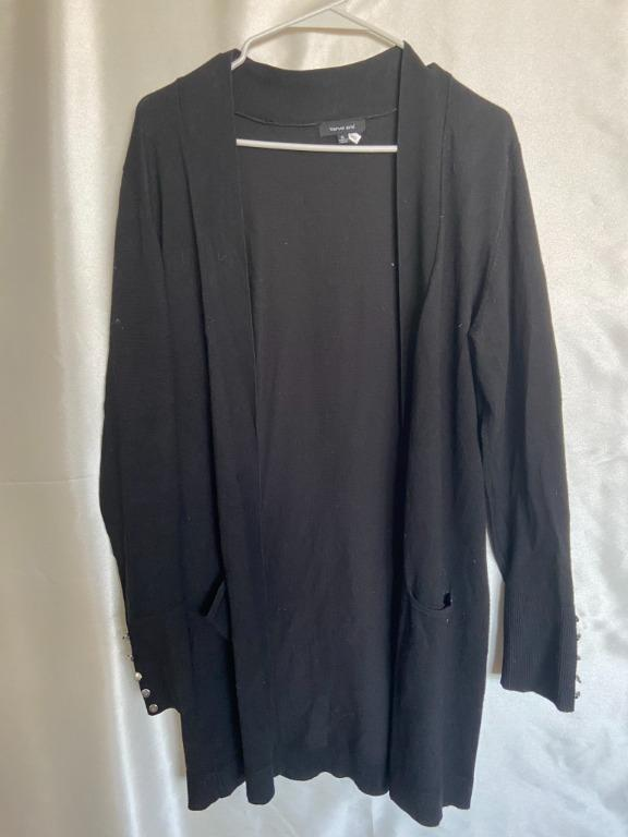Black Long Cardigan with metal button detailing on wrists