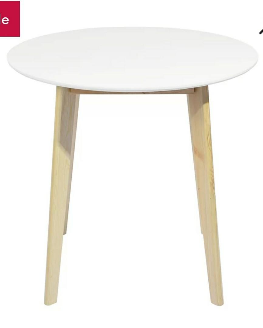 Brand new - Round DINING TABLE (White top with Solid wood base)