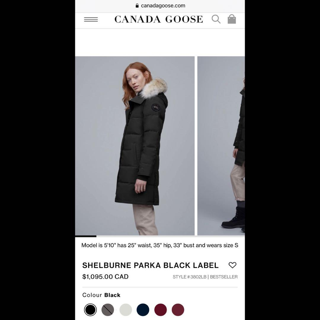 Canada Goose Black Shelburne Parka Black Label XS